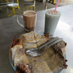 Hot Milo, Milo ais (iced Milo), and a Milo roti at Line Clear Restaurant, Georgetown, Penang, Malaysia