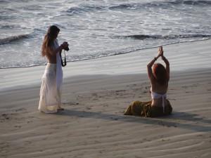 Yoga on the beach, Arambol, Goa