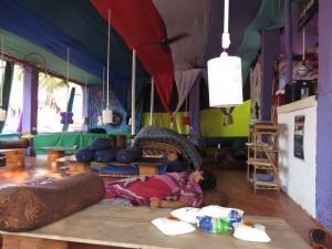 Sleeping staff at Arambol cafe